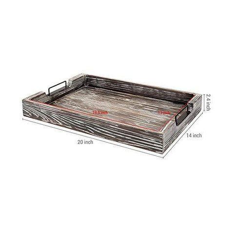 "MyGift 20"" Distressed Torched Wood Serving Tray with Modern Black Metal Handles"