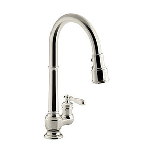 "KOHLER Artifacts K-99260-SN 13"" Polished Nickel Single-Hole Kitchen Sink Faucet"