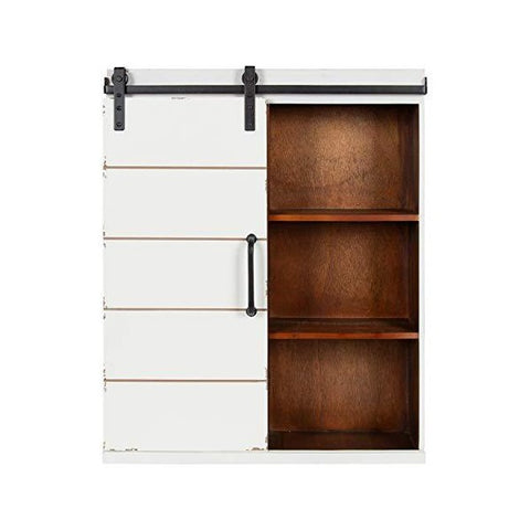 "Kate and Laurel Rafferty 22"" White Rustic Decorative Farmhouse Wall Cabinet"