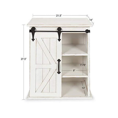 "Kate and Laurel Cates 14"" White Wooden Freestanding Storage Cabinet w/ Sliding Barn Door"