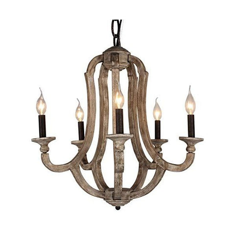 "DOCHEER Cottage 10137  22"" Brown Vintage 5-Light Wood Metal Chandeliers"