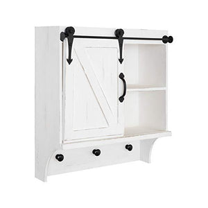 "Kate and Laurel Cates 18"" White Decorative Farmhouse Cabinet Wall Organizer with Sliding Barn Door and 3 Knobs"