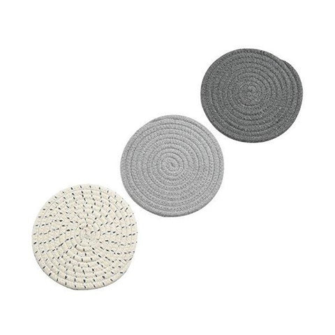"Jennice House 7"" Gray Cotton Thread Weave Hot Pot Holders - Set of 3"