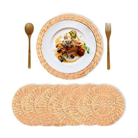 "Truth Equeen Hyacinth 13"" Round Farmhouse Woven Placemats - Set of 6"