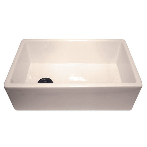 "Image of Nantucket FCFS30B 30"" Bisque Single Bowl Fireclay Farmhouse Sink with Grid"