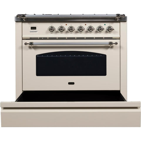 "Ilve Nostalgie Series 36"" Antique White Dual Fuel Liquid Propane Range w/ 5 Sealed Brass Burners"