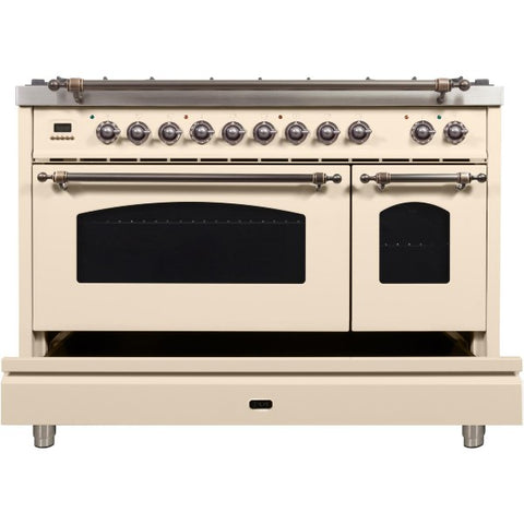 "Image of Ilve Nostalgie Series 48"" Antique White Dual Fuel Liquid Propane Range with 7 Sealed Burners"
