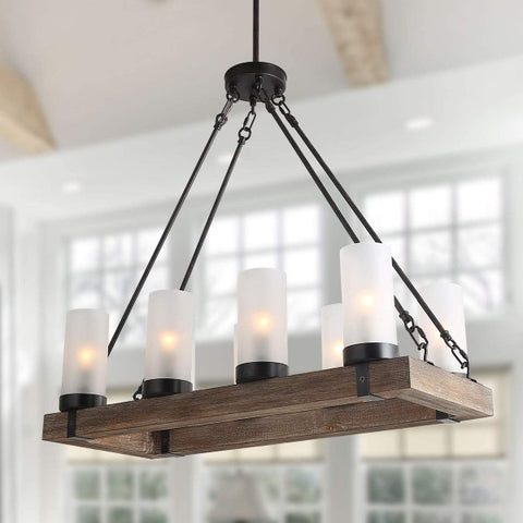"LNC 29"" Wood Rustic Farmhouse Chandelier Rectangular Light Fixture w/ Frosted Glass"