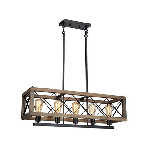 "Image of RUZINIU 23"" Brown Farmhouse 3-Light Rectangular Chandelier"