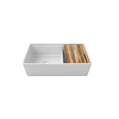 "Image of Latoscana LDL3619W 36"" White Double Bowl Fireclay Farmhouse Sink - Annie & Oak"