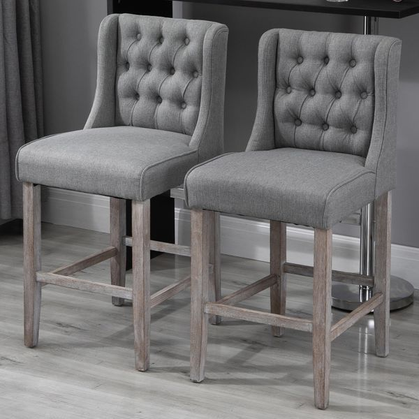 "HOMCOM 40"" Gray Tufted Wingback Armless Counter Height Barstools - Set of 2"
