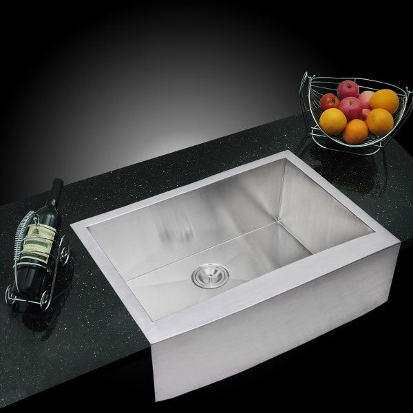 "Water Creation SSSG-AS-3022A-16 30"" Stainless Steel Single Bowl Farmhouse Sink - Annie & Oak"