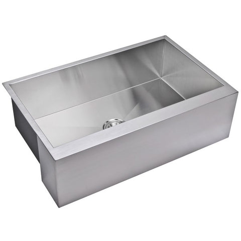 "Image of Water Creation SSSG-AS-3321A-16 33"" Stainless Steel Single Bowl Farmhouse Sink - Annie & Oak"