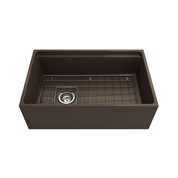 Bocchi Contempo 30 Brown Fireclay Farmhouse Sink Single Bowl Step Rim-Annie & Oak