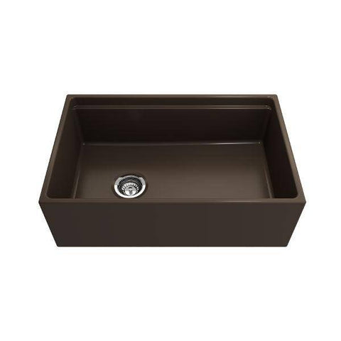Image of Bocchi Contempo 30 Brown Fireclay Farmhouse Sink Single Bowl Step Rim-Annie & Oak