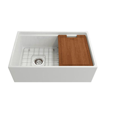 Bocchi Contempo 30 White Fireclay Farmhouse Sink Single Bowl Step Rim - Annie & Oak