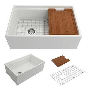 Bocchi Contempo 30 White Fireclay Farmhouse Sink Single Bowl w/ Integrated Work Station