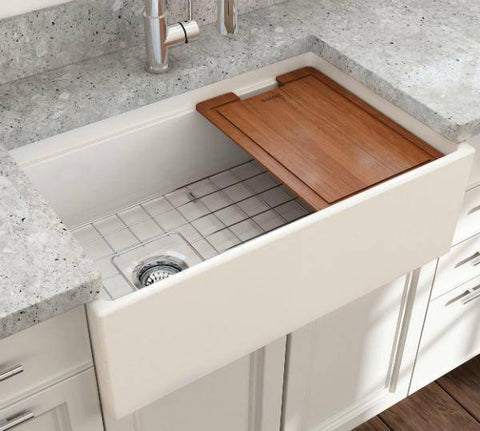 Image of Bocchi Contempo 30 White Fireclay Farmhouse Sink Single Bowl Step Rim - Annie & Oak