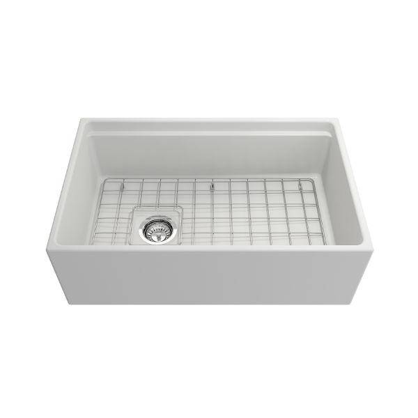 Bocchi Contempo 30 Matte White Fireclay Farmhouse Sink Single Bowl Step Rim - Annie & Oak