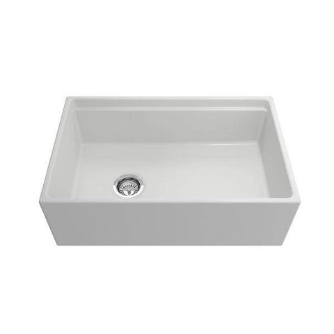 Image of Bocchi Contempo 30 Matte White Fireclay Farmhouse Sink Single Bowl Step Rim - Annie & Oak