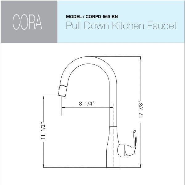 "Houzer Cora CORPD-569-BN 17"" Brushed Nickel Pull Down Kitchen Faucet"