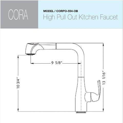 "Houzer Cora CORPO-554-OB 13"" Oil Rubbed Bronze Pull Out Kitchen Faucet"