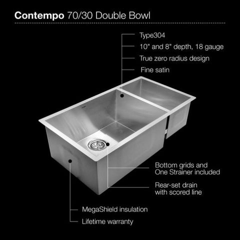"Houzer CTO-3370SR 33"" Stainless Steel Double Bowl Undermount Kitchen Sink"