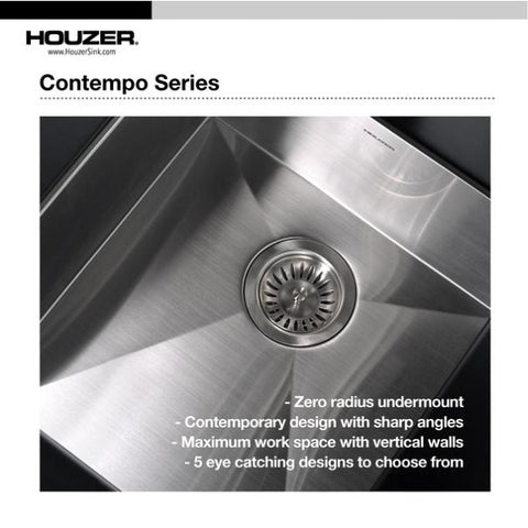 "Image of Houzer CTO-3370SR 33"" Stainless Steel Double Bowl Undermount Kitchen Sink"