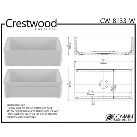 Image of 33 Fireclay Farmhouse Sink White Reversible Casement Design Crestwood-Annie & Oak