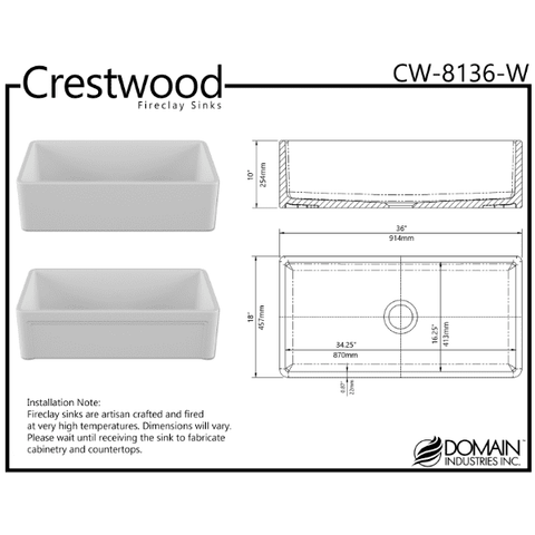 Image of 36 Fireclay Farmhouse Sink White Reversible Single Casement Crestwood-Annie & Oak