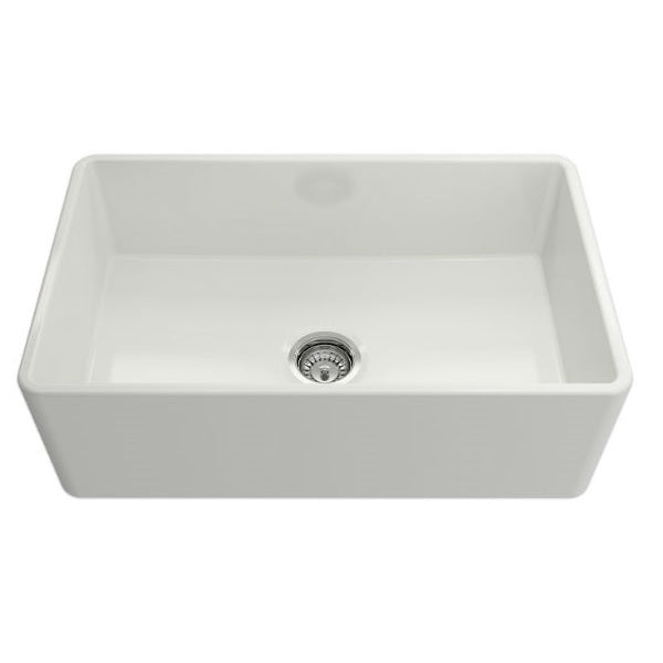 "Crestwood CW-CL-30 30"" White Classic Single Bowl Smooth Fireclay Farmhouse Sink - Annie & Oak"
