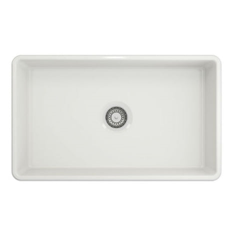 "Image of Crestwood CW-CL-30 30"" White Classic Single Bowl Smooth Fireclay Farmhouse Sink - Annie & Oak"