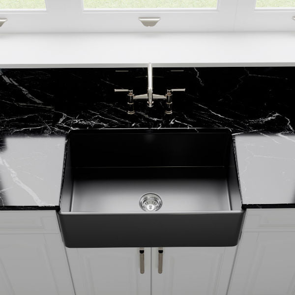 "Crestwood CW-CL-30 30"" Charcoal Classic Single Bowl Smooth Fireclay Farmhouse Sink-Annie & Oak"