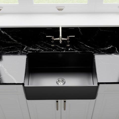 "Image of Crestwood CW-CL-30 30"" Charcoal Classic Single Bowl Smooth Fireclay Farmhouse Sink-Annie & Oak"