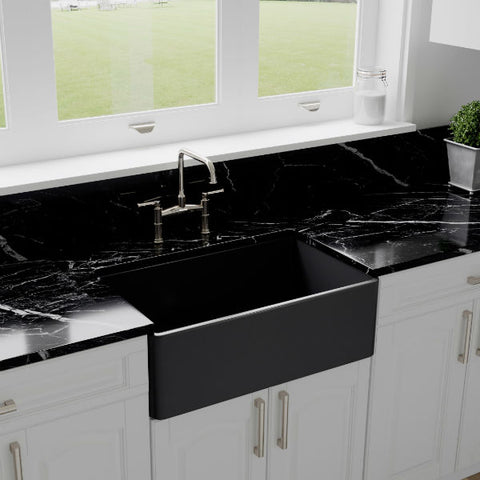 "Crestwood CW-CL-30 30"" Charcoal Classic Single Bowl Smooth Fireclay Farmhouse Sink - Annie & Oak"