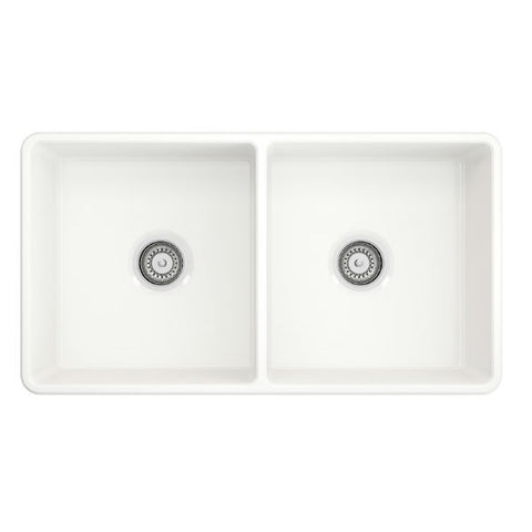 "Crestwood CW-CL-332-DBL 33"" White Classic Double Bowl Fireclay Farmhouse Sink - Annie & Oak"