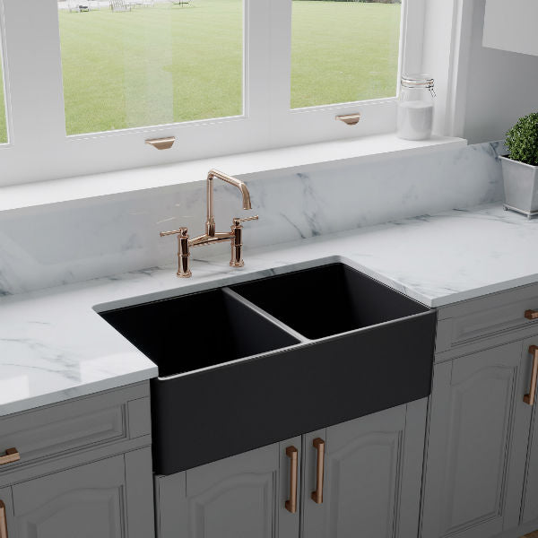 "Crestwood CW-CL-332-DBL 33"" Charcoal Classic Double Bowl Smooth Fireclay Farmhouse Sink - Annie & Oak"