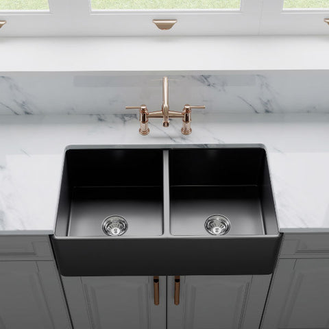 "Image of Crestwood CW-CL-332-DBL 33"" Charcoal Classic Double Bowl Smooth Fireclay Farmhouse Sink-Annie & Oak"