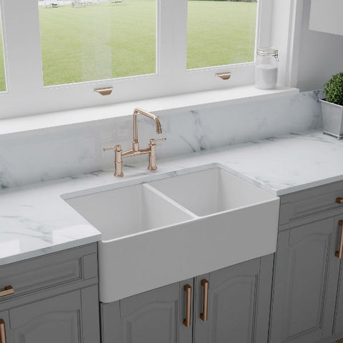 "Image of Crestwood CW-CL-332-DBL 33"" White Classic Double Bowl Fireclay Farmhouse Sink - Annie & Oak"