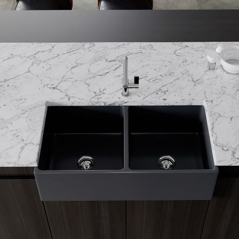 "Image of Crestwood CW-MOD-362-DB 36"" Charcoal Modern Double Bowl Smooth Fireclay Farmhouse Sink - Annie & Oak"