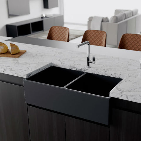 "Crestwood CW-MOD-362-DB 36"" Charcoal Modern Double Bowl Smooth Fireclay Farmhouse Sink - Annie & Oak"