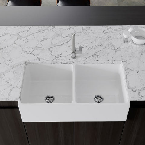 "Crestwood CW-MOD-362-DB 36"" White Modern Double Bowl Smooth Fireclay Farmhouse Sink-Annie & Oak"
