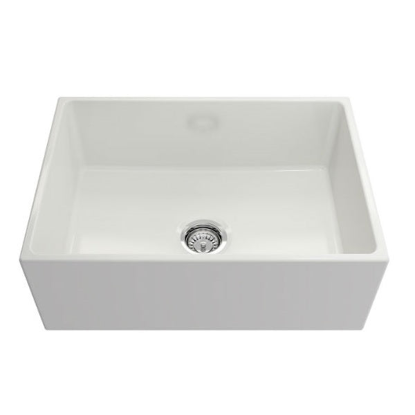 "Crestwood CW-MOD-27 27"" White Modern Single Bowl Smooth Fireclay Farmhouse Sink-Annie & Oak"