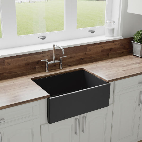 "Crestwood CW-MOD-27 27"" Charcoal Modern Single Bowl Smooth Fireclay Farmhouse Sink-Annie & Oak"