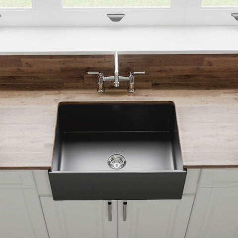"Crestwood CW-MOD-27 27"" Charcoal Modern Single Bowl Smooth Fireclay Farmhouse Sink - Annie & Oak"
