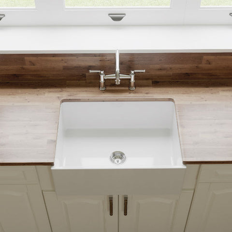 "Crestwood CW-MOD-27 27"" White Modern Single Bowl Smooth Fireclay Farmhouse Sink - Annie & Oak"