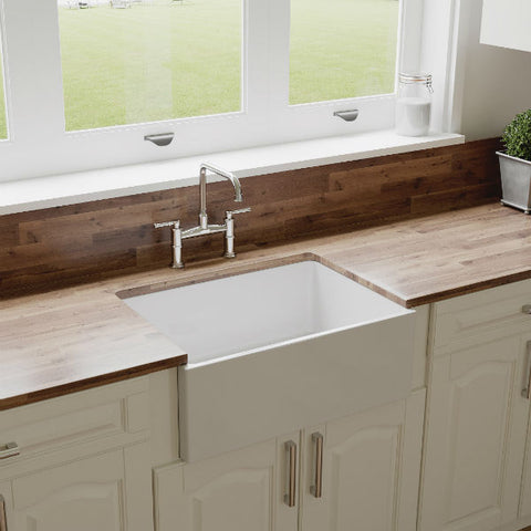 "Image of Crestwood CW-MOD-27 27"" White Modern Single Bowl Smooth Fireclay Farmhouse Sink - Annie & Oak"