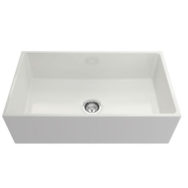 "Crestwood CW-MOD-33 33"" White Modern Single Bowl Smooth Fireclay Farmhouse Sink - Annie & Oak"