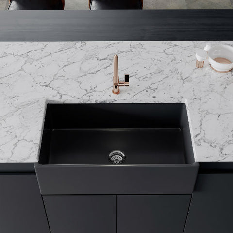 "Crestwood CW-MOD-33 33"" Charcoal Modern Single Bowl Smooth Fireclay Farmhouse Sink - Annie & Oak"