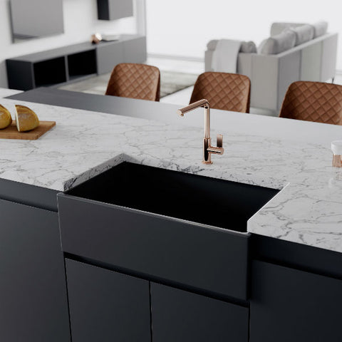 "Image of Crestwood CW-MOD-33 33"" Charcoal Modern Single Bowl Smooth Fireclay Farmhouse Sink - Annie & Oak"